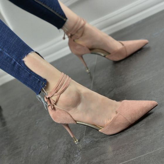 Chic / Beautiful Prom Pumps 2017 PU Suede Pointed Toe High Heel Pumps