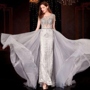 Luxury / Gorgeous Grey Evening Dresses  2020 Trumpet / Mermaid Scoop Neck Handmade  Beading Tassel Crystal Rhinestone Sequins Sleeveless Sweep Train Formal Dresses