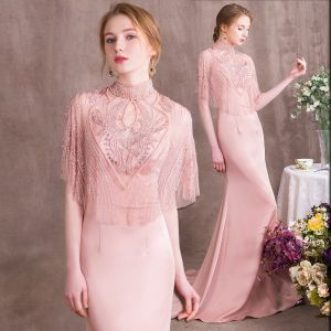 Luxury / Gorgeous Pearl Pink Evening Dresses  2018 Trumpet / Mermaid Beading Crystal Rhinestone Pearl High Neck Backless Short Sleeve Sweep Train Formal Dresses