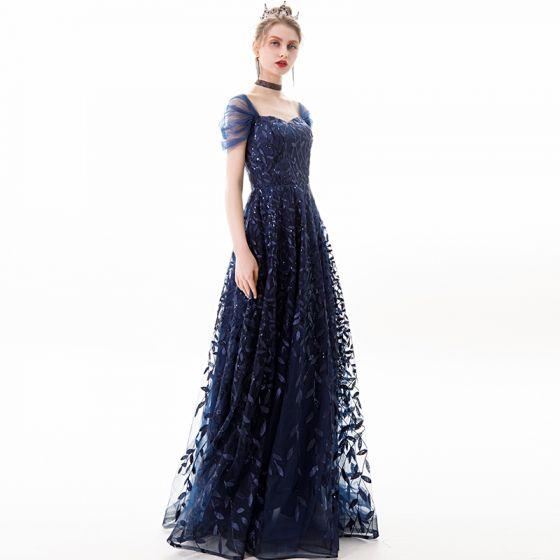 Classy Navy Blue Evening Dresses  2019 A-Line / Princess Square Neckline Sequins Lace Flower Short Sleeve Backless Floor-Length / Long Formal Dresses
