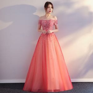 Chic / Beautiful Red Prom Dresses 2017 A-Line / Princess Backless Tulle Prom Beading Pearl Strapless Evening Dresses