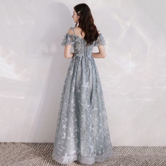 Chic / Beautiful Grey Evening Dresses  2020 A-Line / Princess Spaghetti Straps Puffy Short Sleeve Glitter Star Appliques Lace Floor-Length / Long Ruffle Backless Formal Dresses