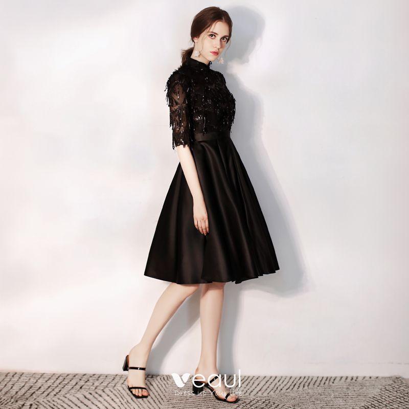 achten Sie auf Super günstig 100% echt Charmant Schwarz Abendkleider 2020 A Linie Stehkragen Pailletten 1/2 Ärmel  Knielang Festliche Kleider