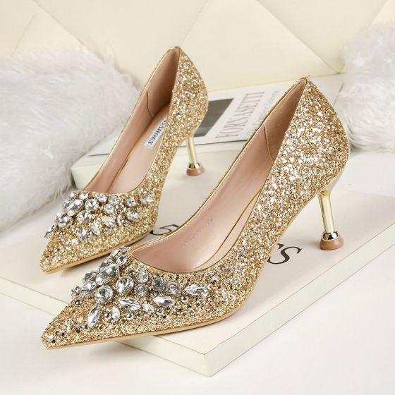 Sparkly Gold Evening Party Pumps 2020 Rhinestone Sequins 6 cm Stiletto Heels Pointed Toe Pumps