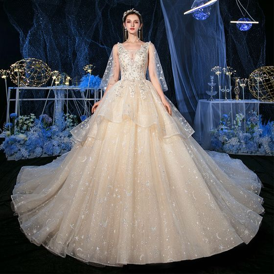 Romantic Champagne Glitter Star Tulle Wedding Dresses With Shawl 2020 Ball Gown See-through Deep V-Neck Sleeveless Backless Appliques Lace Beading Cathedral Train Ruffle