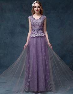 2015 A-linie Schultern V-ausschnitt Spitze Und Tüll Abendkleid
