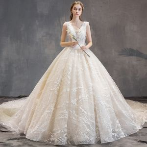 Elegant Champagne Wedding Dresses 2019 A-Line / Princess V-Neck Lace Flower Sleeveless Backless Cathedral Train