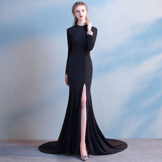 Mode Hof-Schleppe Schwarz Abendkleider 2018 Mermaid Charmeuse Stehkragen Reißverschluss Rückenfreies Abend Festliche Kleider