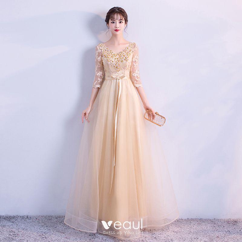 Elegant Gold Evening Dresses 2018 Empire V-Neck 3 4 Sleeve Appliques Lace  Sequins Beading Sash Floor-Length   Long Ruffle Backless Formal Dresses 433500ff2cf6