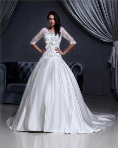 V-ausschnitt Spitze Applique Kapelle A-linie Brautkleider Hochzeitskleid