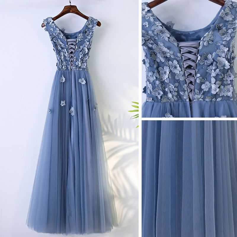 Chic / Beautiful Ocean Blue Prom Dresses 2017 A-Line / Princess Crossed Straps Appliques Flower Lace Tulle Scoop Neck Sleeveless Tea-length