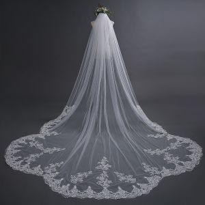 Schöne Weiß Hochzeit 2017 4 m Tülle Applikationen Brautschleier