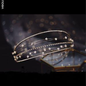 Elegante Silber Kopfschmuck Haarschmuck Braut  2020 Metall Zirkon Hochzeit Brautaccessoires