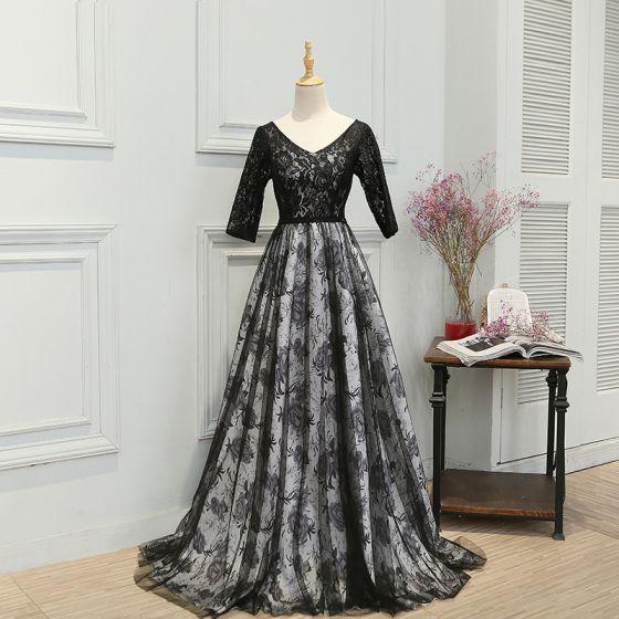 Hada de las flores Negro Colas De La Corte Vestidos de noche 2018 A-Line / Princess V-Cuello Sin Espalda Impresión Charmeuse Noche Vestidos de gala