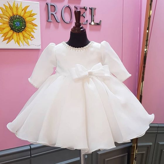 Modest / Simple White Organza Birthday Flower Girl Dresses 2020 Ball Gown Scoop Neck Puffy 1/2 Sleeves Bow Pearl Short Ruffle Wedding Party Dresses