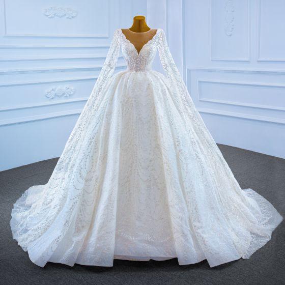 Luksusowe Białe ślubna Suknie Ślubne 2021 Suknia Balowa Przezroczyste Głęboki V-Szyja Bez Rękawów Bez Pleców Frezowanie Perła Trenem Watteau Wzburzyć