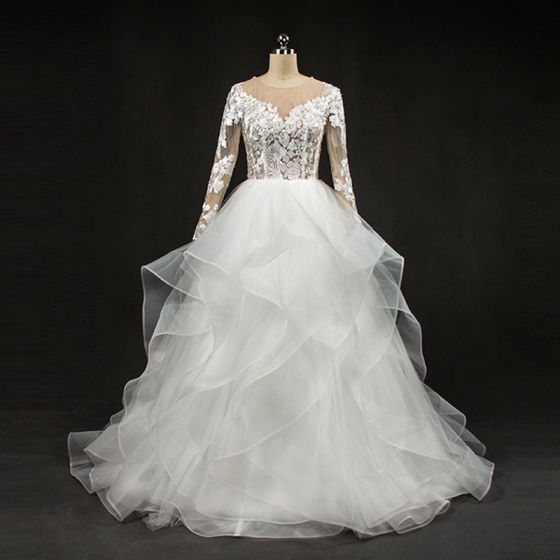 Stunning White Wedding Dresses 2017 Scoop Neck Long Sleeve Backless Pierced Lace Pleated Organza Floor-Length / Long Ball Gown