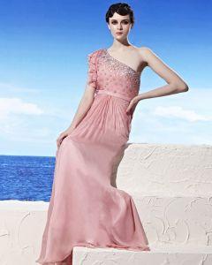 Schrägen Ausschnitt Rüschehülse Perlen Bodenlangen Reich Tencel Frau Abendkleid