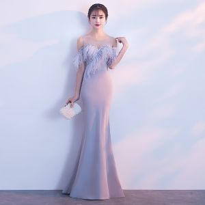 Chic / Beautiful Grey Evening Dresses  2018 Trumpet / Mermaid Feather Scoop Neck Strapless Sleeveless Floor-Length / Long Formal Dresses