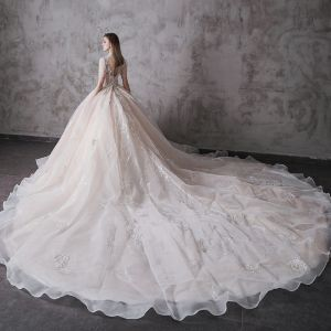 High-end Champagne Wedding Dresses 2020 Ball Gown High Neck Beading Sequins Lace Flower Short Sleeve Backless Royal Train