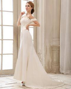 Satin Pleated Off Shoulder Empire Wedding Dress