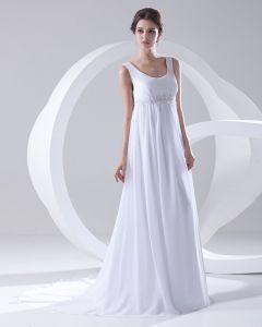 Sans Manche Fermeture Eclair Perles Ruffle Etage Longueur Robe De Femme De Mariée Empire Ronde