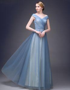 2015 Elegant Schulter Kurzen Ärmeln V-ausschnitt Bodenlangen Abendkleider Langen Tulle