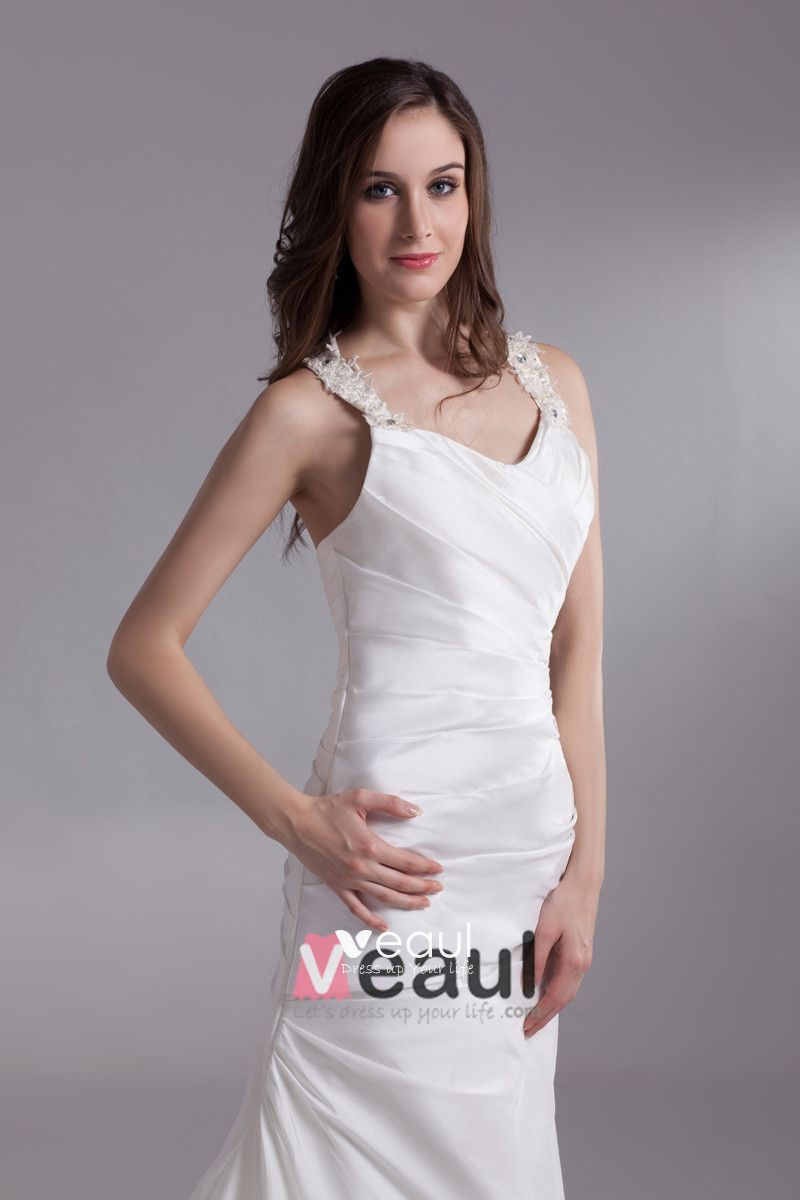 Satin Ruffle Sequins Shoulder Straps Court Train Sheath Wedding Dress