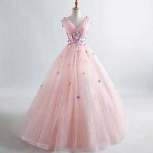 Elegant Pearl Pink Prom Dresses 2019 A-Line / Princess V-Neck Appliques Pearl Lace Flower Sleeveless Backless Floor-Length / Long Formal Dresses