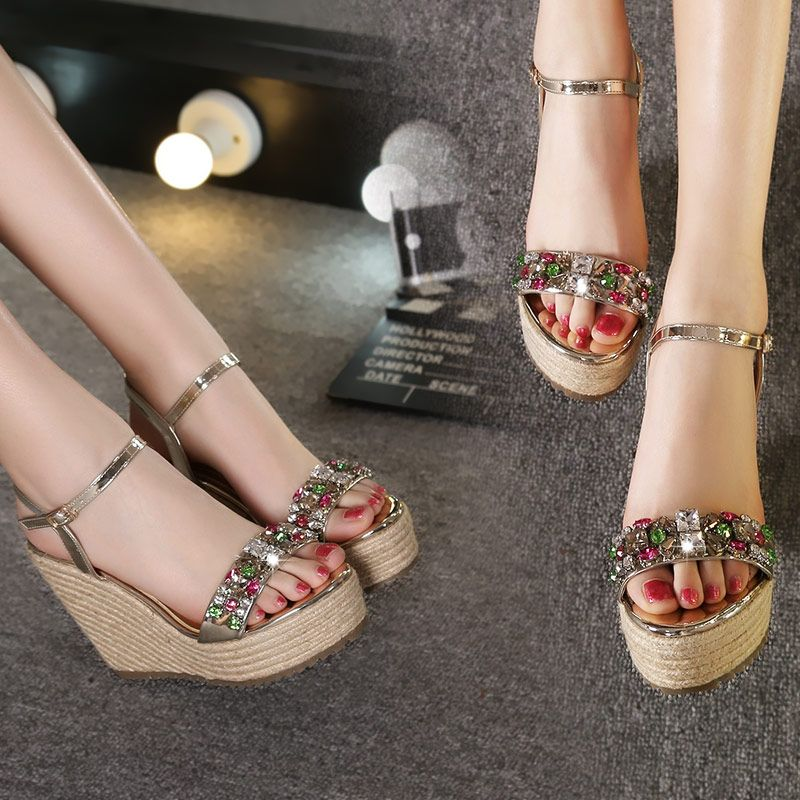 Chic / Beautiful Outdoor / Garden Womens Sandals 2017 PU Braid Rhinestone Wedges Open / Peep Toe High Heel Sandals