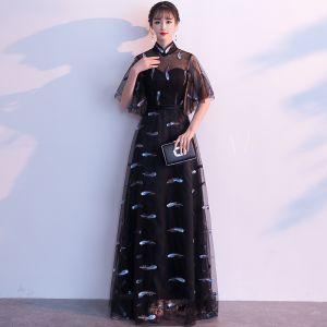 Chic / Belle Noire Robe De Soirée 2019 Princesse Col Haut Ceinture En Dentelle Fleur 1/2 Manches Longue Robe De Ceremonie