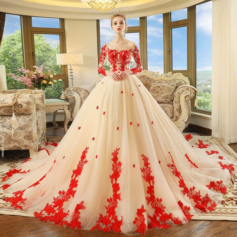 Chic / Beautiful Champagne See-through Wedding Dresses 2018 Ball Gown Scoop Neck Long Sleeve Backless Red Appliques Lace Beading Cathedral Train Ruffle