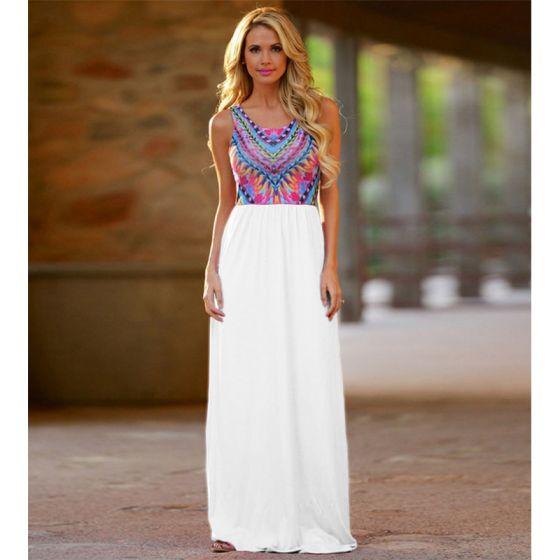 Bohemia White Chiffon Maxi Dresses 2018 Sheath / Fit Scoop Neck Sleeveless Floor-Length / Long Ruffle Womens Clothing