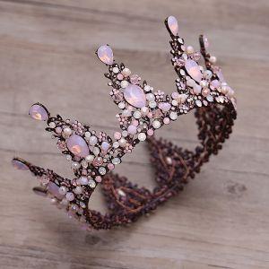 Klassieke Elegante Candy Roze Bruidssieraden 2017 Metaal Kralen Kristal Rhinestone Haaraccessoires Huwelijk Gala Accessoires