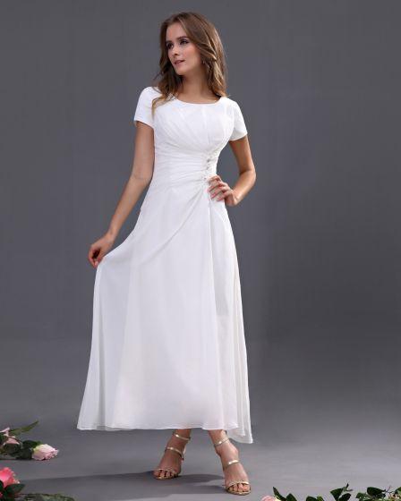 Chiffon Short Sleeve Tea Length Bridesmaid Dresses