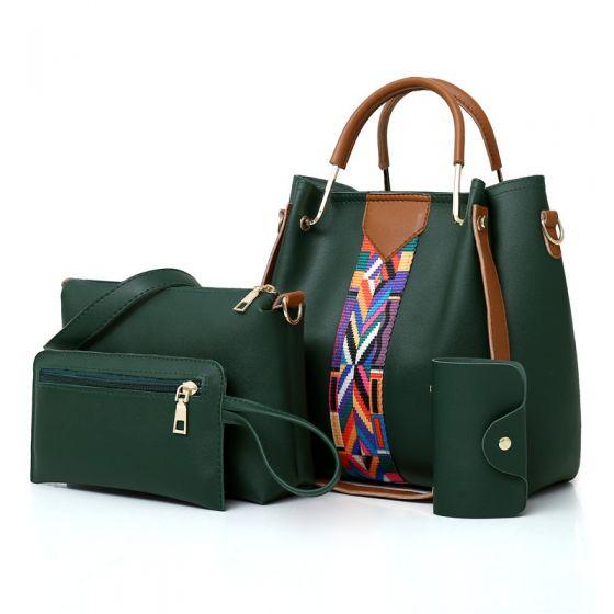 4 Stück Dunkelgrün Schultertaschen Handtasche Brieftasche Schlüsselbox 2021 PU Damentaschen