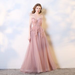 Chic / Beautiful Blushing Pink Evening Dresses  2019 A-Line / Princess Spaghetti Straps Bow Sequins Beading Pearl Lace Flower Sleeveless Backless Court Train Formal Dresses