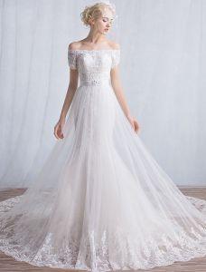 Elegant Havfrue Brudekjoler 2016 Av Skulderen Applikerte Blonder Paljetter Lang Brudekjole Med Korte Ermer