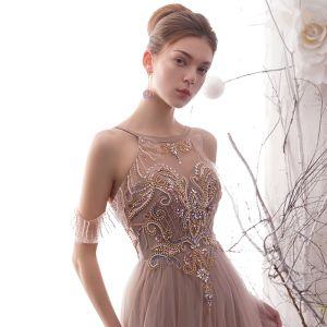 Luxus / Herrlich Pearl Rosa Durchsichtige Abendkleider 2019 A Linie Rundhalsausschnitt Kurze Ärmel Handgefertigt Perlenstickerei Lange Rüschen Rückenfreies Festliche Kleider