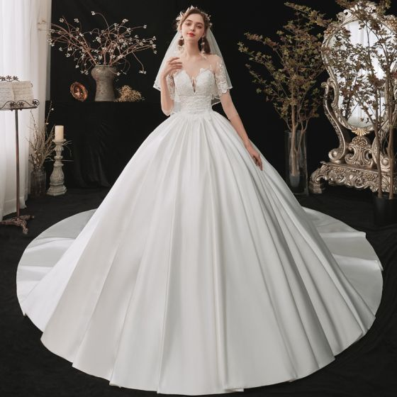 Fashion White Satin Bridal Wedding Dresses 2020 Ball Gown See-through Square Neckline 1/2 Sleeves Backless Appliques Lace Sequins Cathedral Train Ruffle