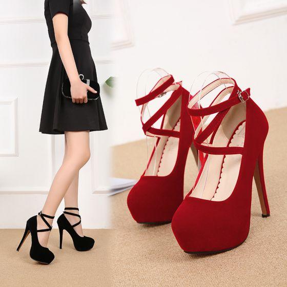Chic / Beautiful Red Street Wear Suede Pumps 2020 Ankle Strap 14 cm Stiletto Heels Round Toe Pumps