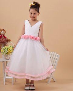 Beautiful V Neck Tulle Handmade Flower Girl Dresses