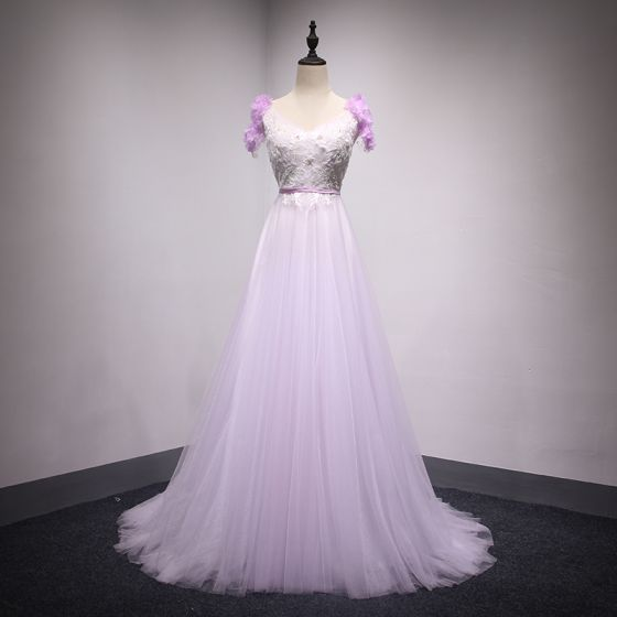 Chic / Beautiful Lilac Evening Dresses  2018 A-Line / Princess Lace Flower Appliques Beading Pearl V-Neck Backless Sleeveless Sweep Train Formal Dresses