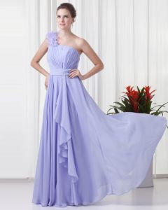 One Shoulder Flower Ruffle Floor Length Chiffon Woman Evening Party Dress
