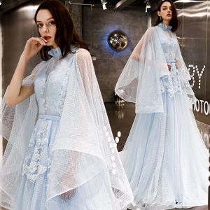 Vintage / Retro Sky Blue See-through Evening Dresses  2019 A-Line / Princess High Neck Long Sleeve Appliques Lace Sash Spotted Tulle Court Train Ruffle Backless Formal Dresses