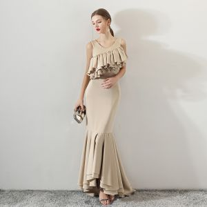 Modest / Simple Champagne Evening Dresses  2018 Trumpet / Mermaid Scoop Neck Sleeveless Sweep Train Ruffle Backless Formal Dresses