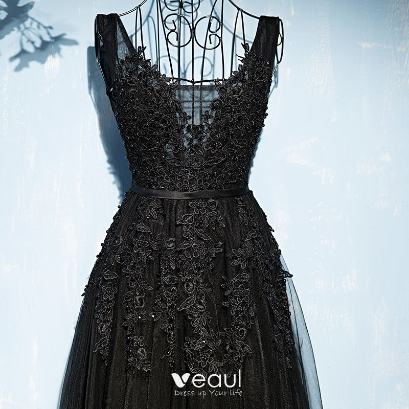 Chic / Beautiful Black Formal Dresses 2017 Lace Flower Sequins Strappy V-Neck Sleeveless Floor-Length / Long Empire Evening Dresses