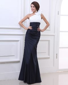 One Shoulder Ruffle Chiffon Satin Floor Length Evening Party Dresses