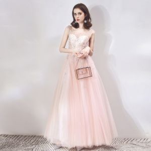 Chic / Beautiful See-through Pearl Pink Evening Dresses  2019 A-Line / Princess Scoop Neck Sleeveless Star Beading Rhinestone Floor-Length / Long Ruffle Backless Formal Dresses