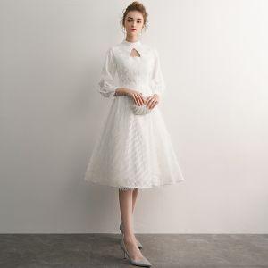 Elegant Ivory Homecoming Graduation Dresses 2019 A-Line / Princess High Neck Tassel 3/4 Sleeve Knee-Length Formal Dresses